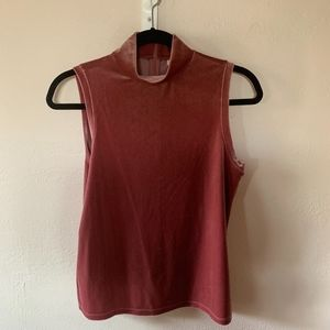 Velvet mock neck sleeveless shirt